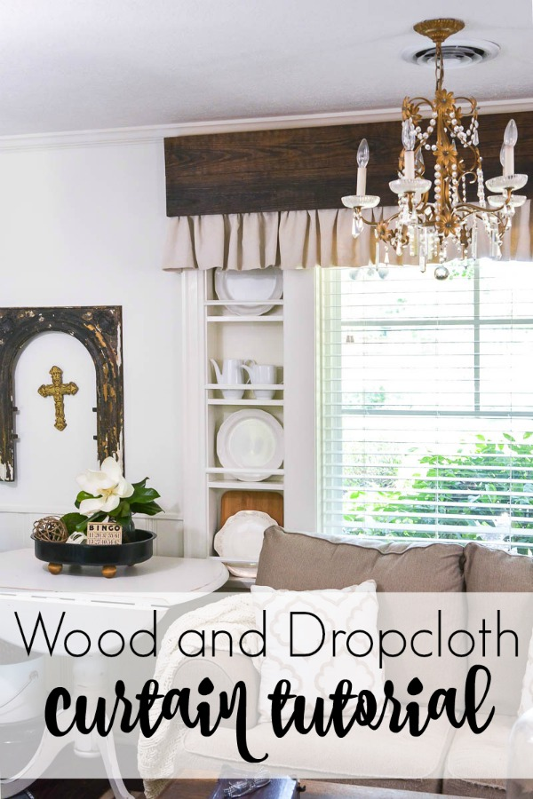 Make inexpensive custom curtains from old wood and dropcloth. Dropcloth curtains are soft and casual, a rich reclaimed wood valance is the finishing touch. Easy DIY curtain tutorial.