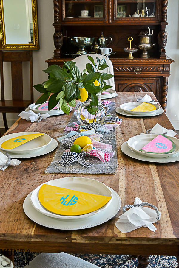 How cute is this lemon & watermelon summer tablescape? What a great summer decorating idea, especially with the DIY monogram for the kiddos! love the houndstooth garland and faux lemon tree arrangement.