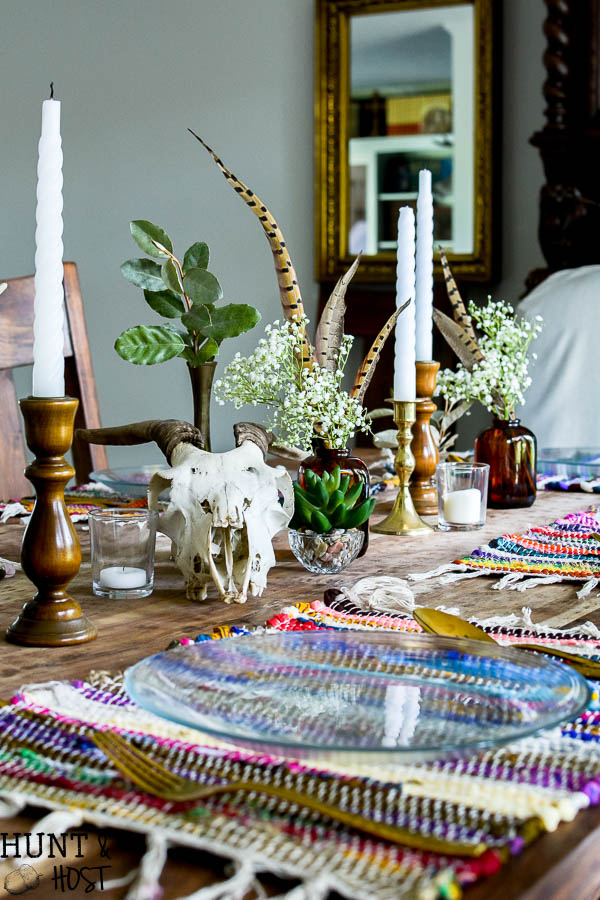 boho table setting dollar store decorating for fall hunt and host