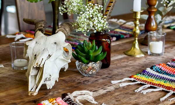 Boho Table Setting: Dollar Store Decorating for Fall