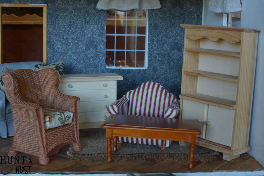 Dollhouse makeover, furniture flip edition. One Room Challenge week 4. Painted furniture and updated hardware ideas!