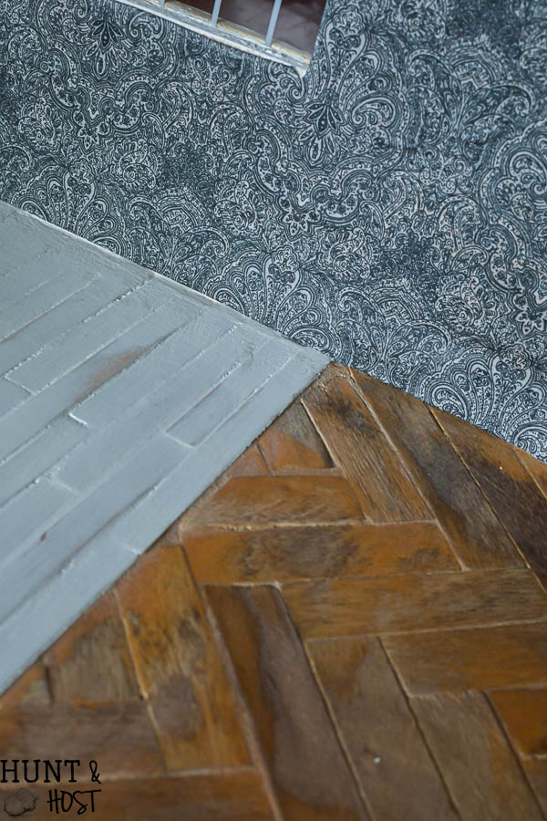 Diy Herringbone Wood Floors And Fabric Wallpaper Dollhouse Updates