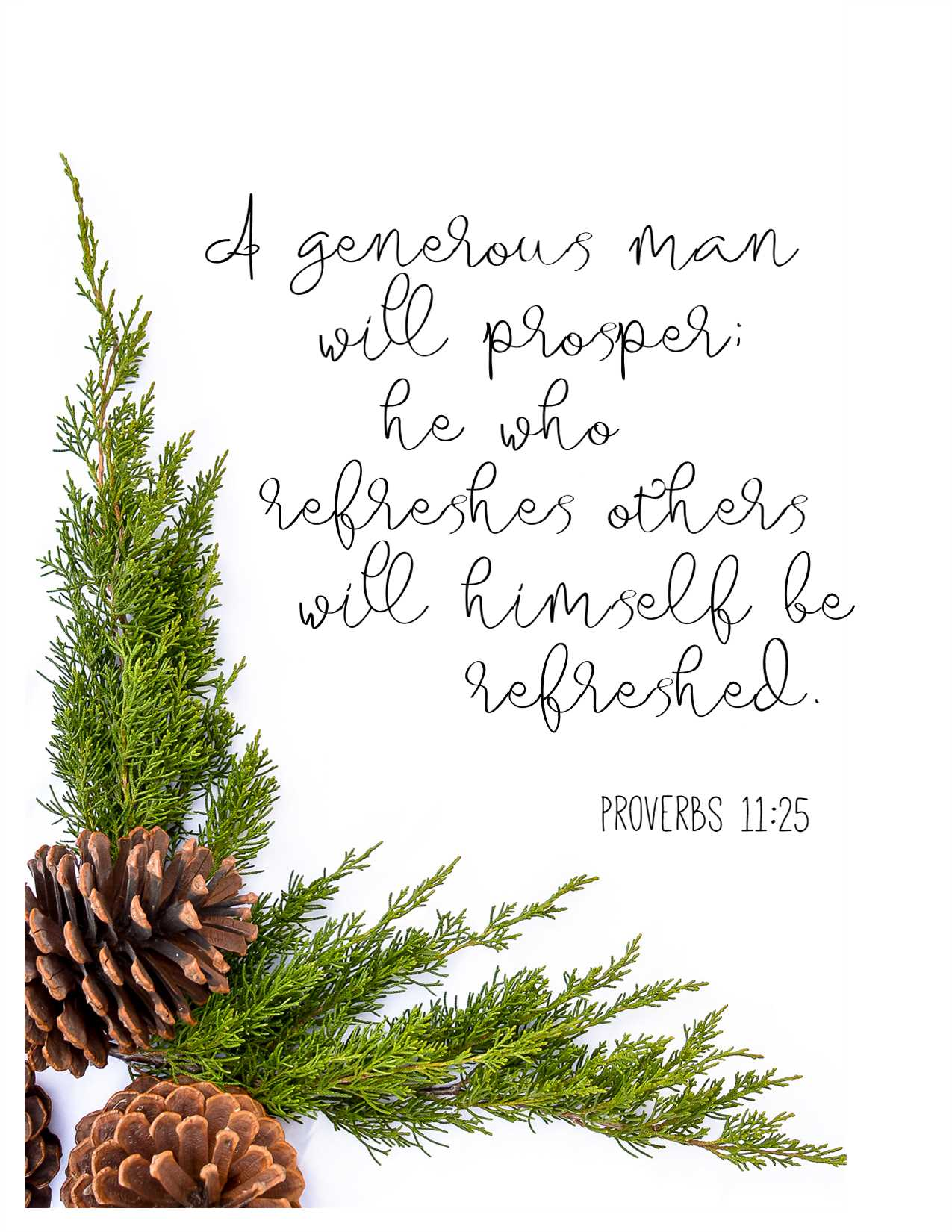 A generous man will prosper; he who refreshes others will himself be refreshed. Proverbs 11:25 free printable from Hunt & Host Blog
