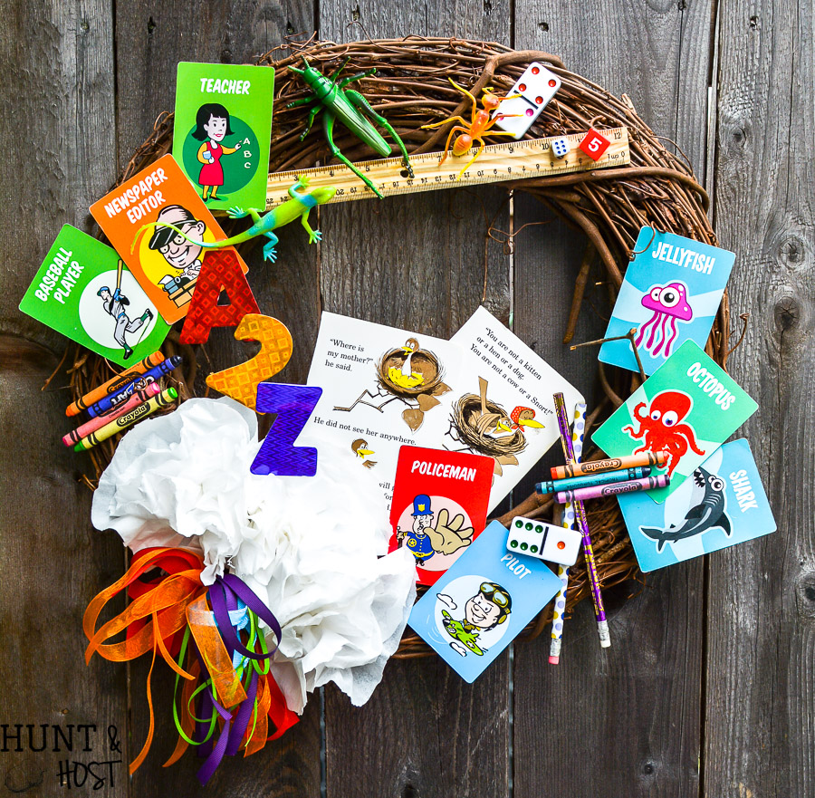 eed a fun teacher appreciation gift idea? This DIY teacher wreath is sure to be a hit, made from all the school supply leftovers, game pieces and miscellaneous office supplies show your favorite teacher some love with cute classroom decor!