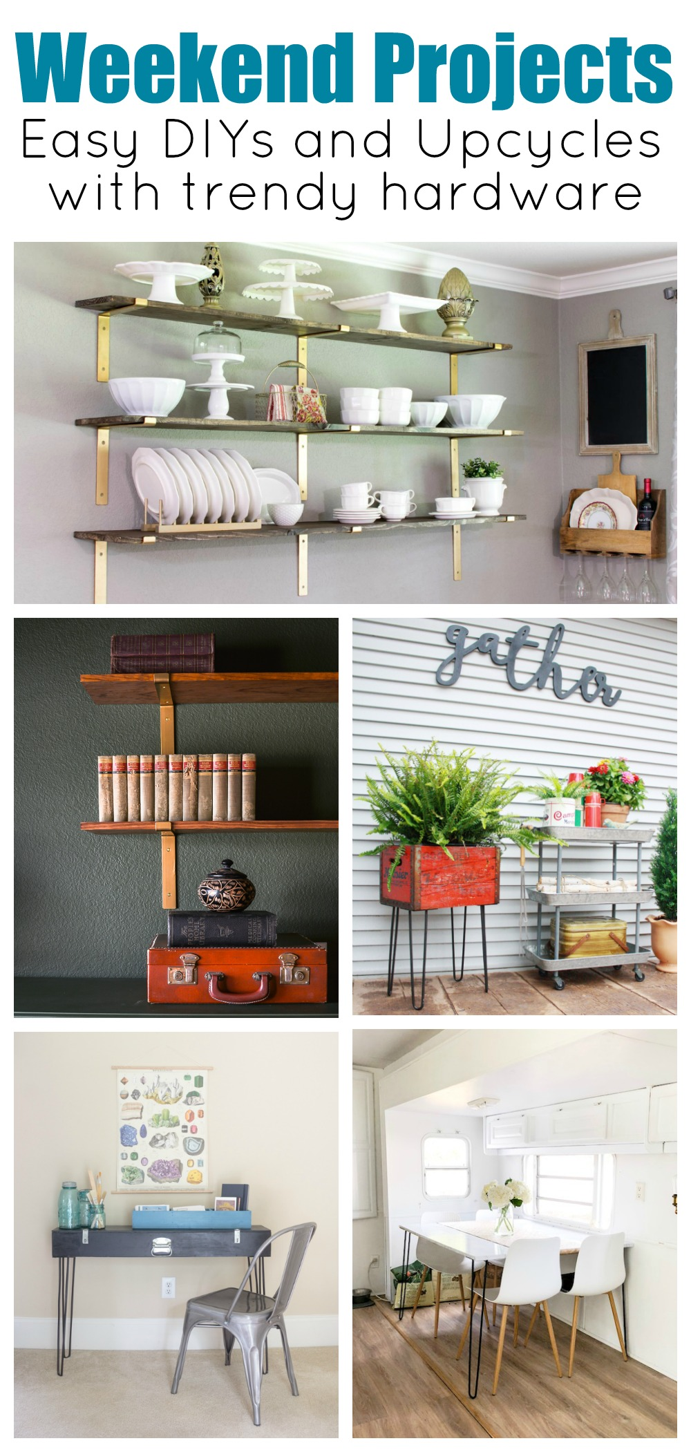Easy weekend projects from Crates & Pallet. Try your hand add adding open shelves for gorgeous storage or make a one of a kind table with hairpin legs. Here are five ideas to get you started. #hairpinlegs #openshelving #goldshelfbrackets #weekendwrrior #weekendproject #bohochic#moodydecor