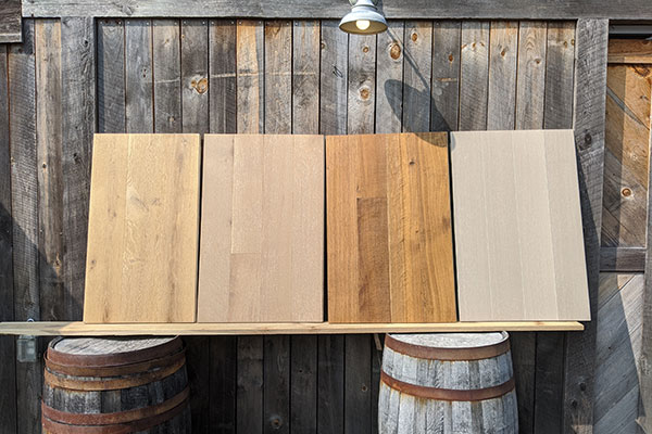 Wood samples showing different grades of wood