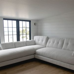 Room with shiplap walls