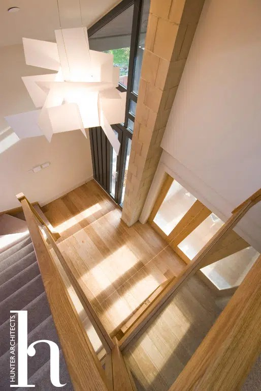 Bespoke Oak and Glass staircase in new build dwelling Trafford