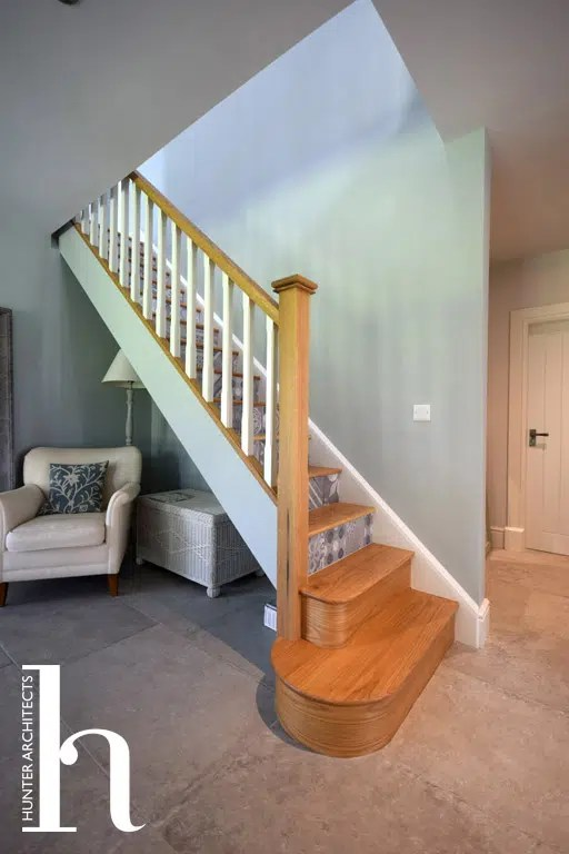 Classic Contemporary Oak staircase with tile detail