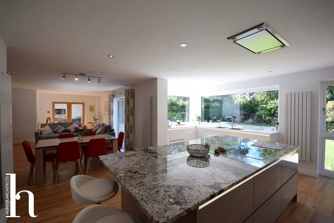Family Room with contemporary kitchen in Hale Barns Cheshire