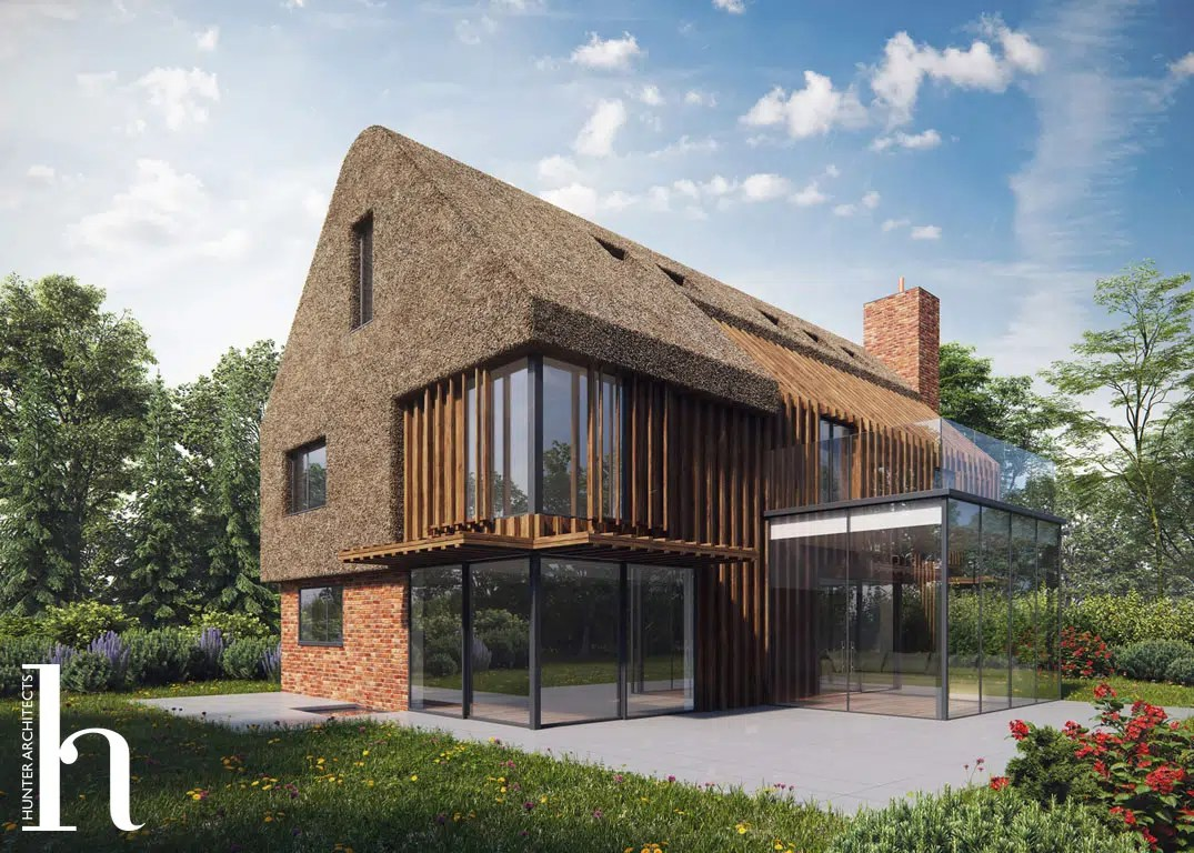 A Bespoke Environmentally Friendly Self Build Home with thatched roof by RIBA Architects