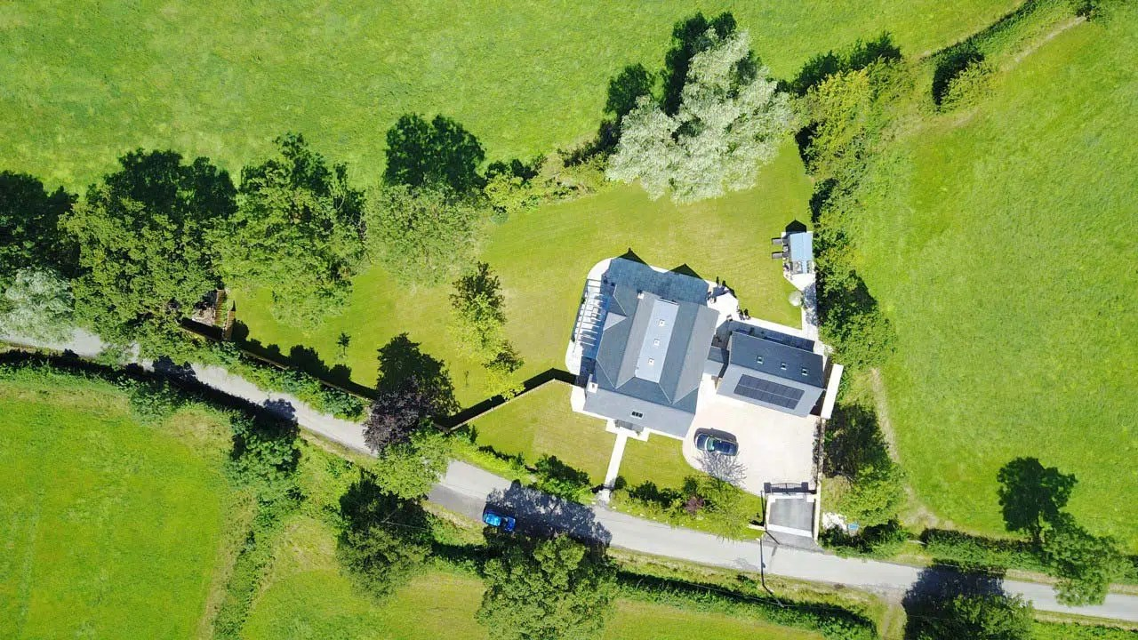 Aerial Drone photograph of replacement dwelling in Flintshire