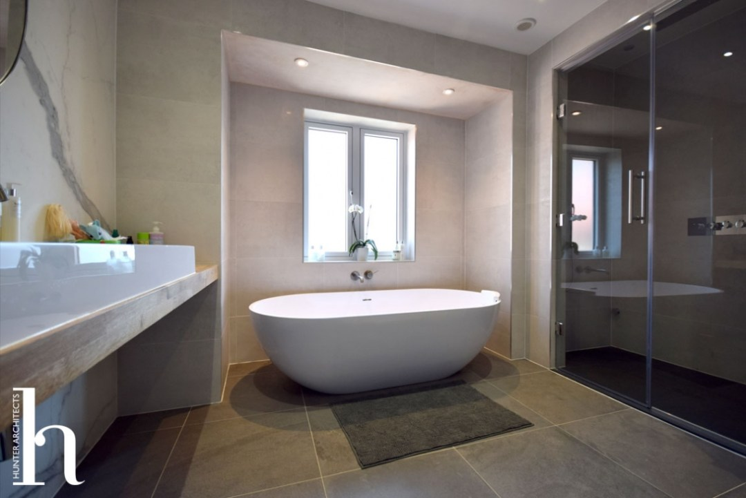 Altrincham house extension family bathroom freestanding bath