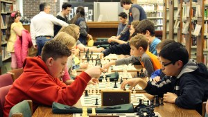 chess club playing games at huntington library