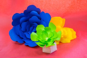 blue green and yellow paper plants on red background