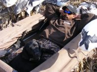Guide Billy Martin waiting for the next flock of snow geese on our South Dakota snow goose hunts.