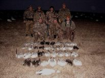 DJ front right is a friend of one of our snow goose guides. This is the second year in a row that his field shot a red neck collar in the same field to boot.