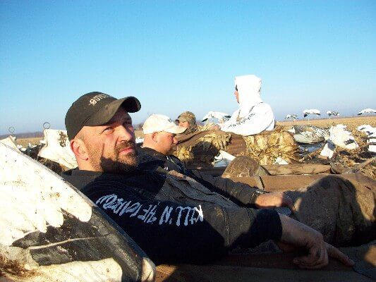 Owner Tracy Northup enjoys a day in the field hunting snow geese with the other guides after completing the extremely challenging 2010 spring season.