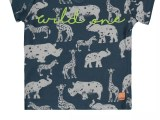 Baby Boys T-shirt s/s V-neck allover print WILD ONE blue aop
