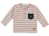 Baby Boys T-shirt l/s y/d stripe with fake button placket and c red stripe