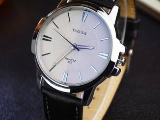 Yazole 332 Men Trendy Leather Band Luminous Quartz Watch