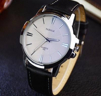 Yazole 332 Men Trendy Leather Band Luminous Quartz Watch
