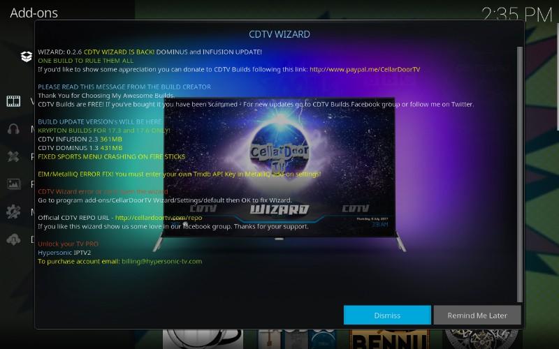 cellardoor tv wizard & How to Install CellarDoor TV Build on Kodi 17.6 - Husham.com