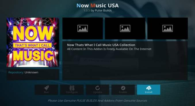 Now Music USA Addon Guide