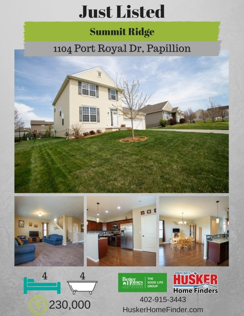 Just Listed! 1104 Port Royal Drive Papillion NE