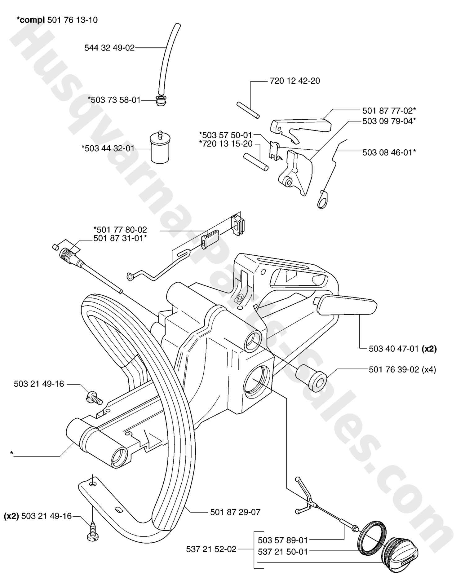 Husqvarna 350 Chainsaw Parts Diagram