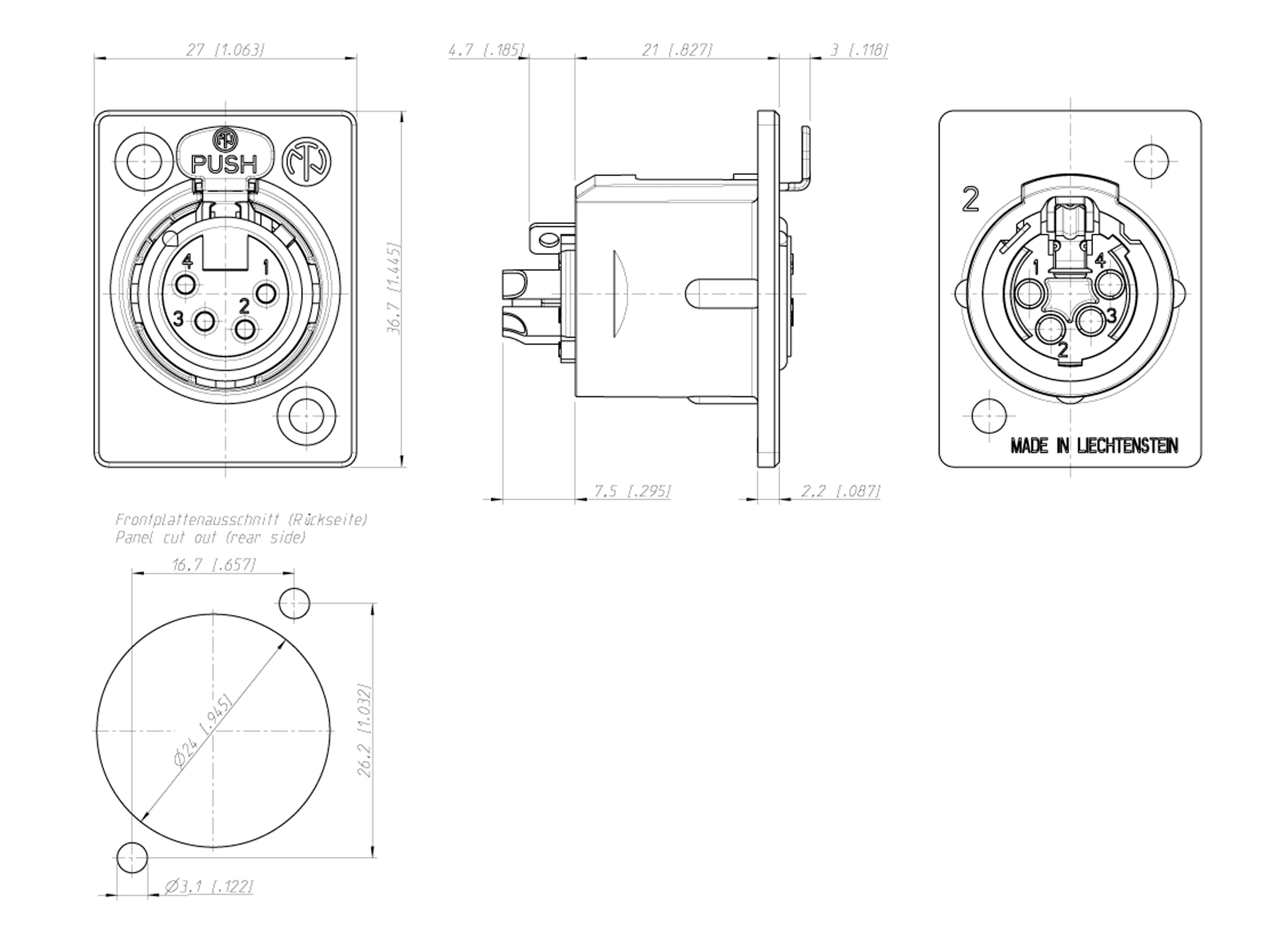 Neutrik Nc4fp 1 Xlr 4pol Chassisbuchse Gunstig Online