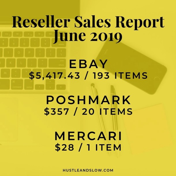 Reseller Sales Report June 2019 Ebay Poshmark Mercari