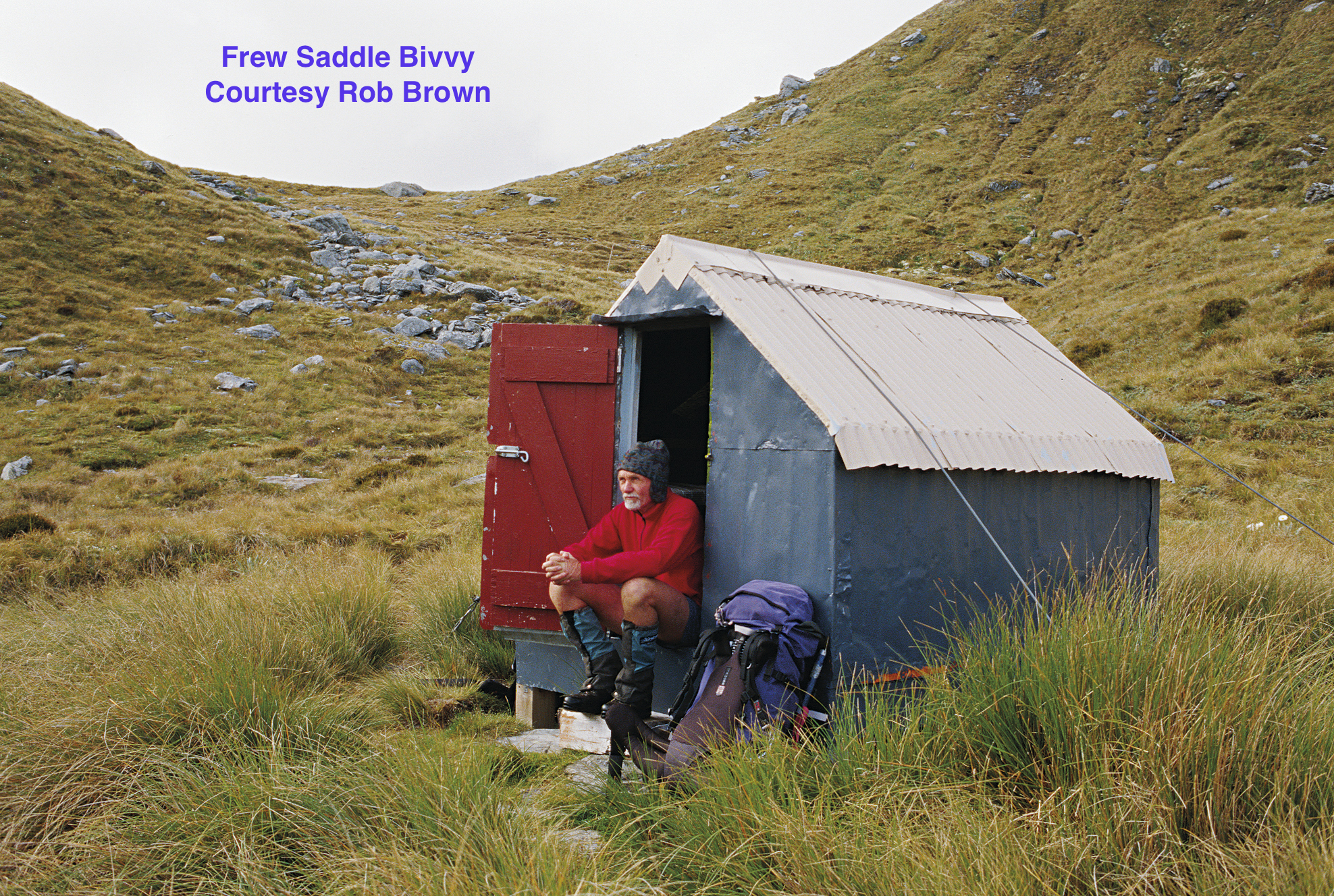 Frew Saddle Bivouac, two bunk bivvy built for NZ Forest Service deer cullers