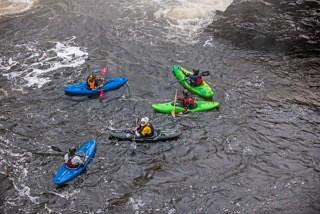 Kayakers gather, Maine Huts & Trails, hut2hut