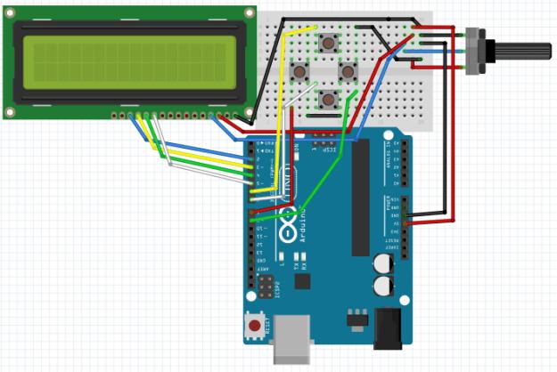 Arduino LCD-valikko - nappien kytkentä