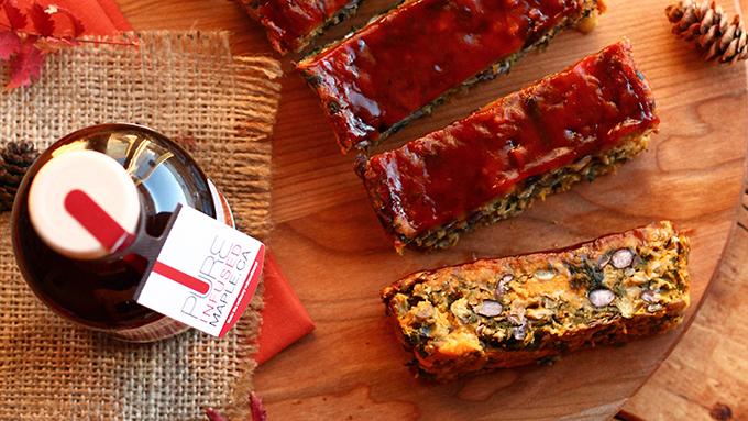 Sweet Potato, Kale, Black Bean Loaf with Tangy BBQ Maple Gastrique Glaze