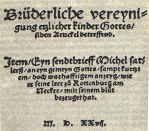 Schleitheimer Title page