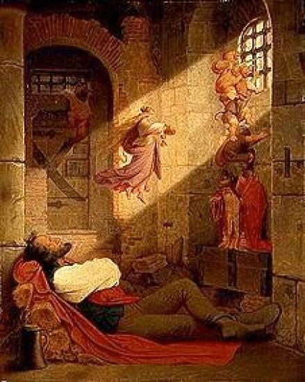 droom - von Schwind 1836 der Traum des Gefangenen