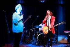 Huw Joseph and the Immoral Support band at Melb Int Comedy Fest 2014. Comedian Liam Ryan guest appearance as a Doctor. Venue is Toff in Town Melb cbd.