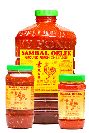 Sambal Oelek Gallon, 18 ounce, and 8 ounce group picture