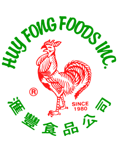Green Huy Fong Foods circle logo with red rooster centered inside