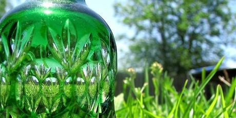Groene fles in de natuur