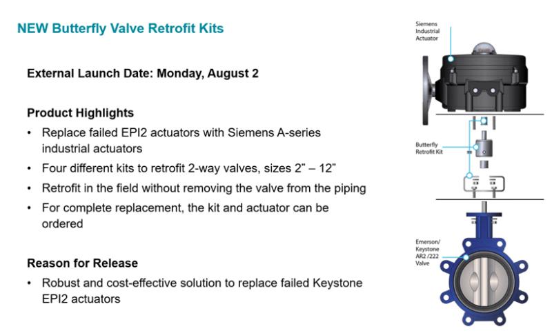 Siemens Butterfly Valve Actuator Retrofit Kit