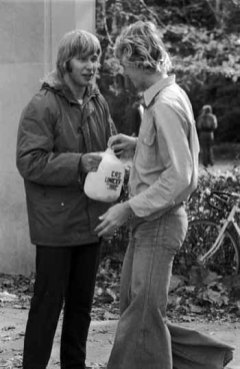 GNDM010-03-01 Al Sondej collecting money for Catholic Relief Services and UNICEF, 1975.