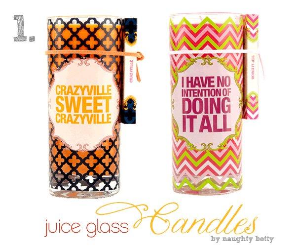 Hostess Gift Idea - Naughty Betty Juice Glass Candle Sets