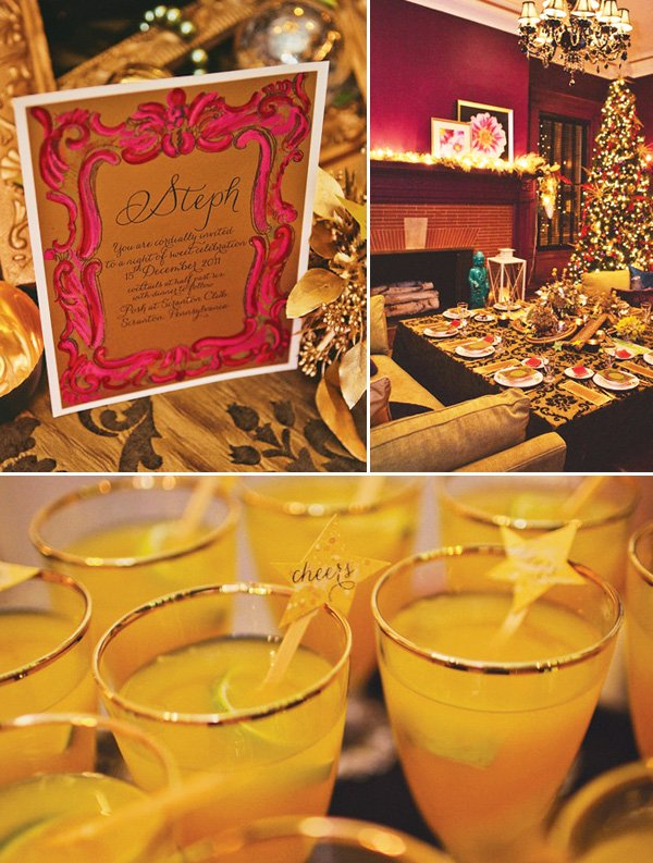 Jewel toned holiday party - tabletop & drinks