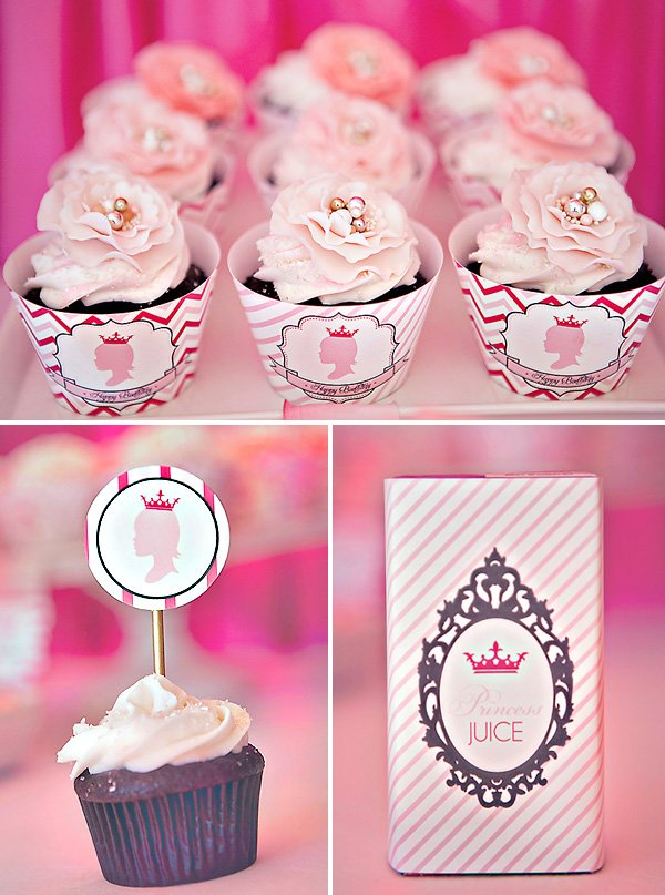 pink princess party cupcakes, cupcake toppers & juice box printables