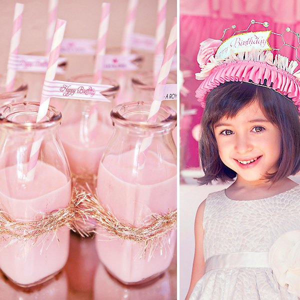 pink strawberry milk in glass milk bottles and princess birthday crown