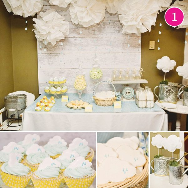 adoption shower decorated with clouds and ducks