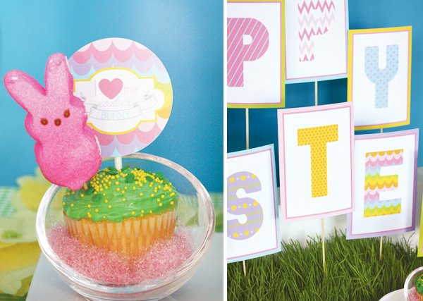 easter bunny collection cupcake topper and happy easter sign